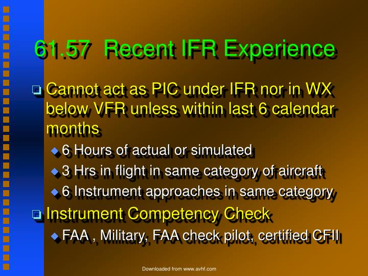 61.57  Recent IFR Experience