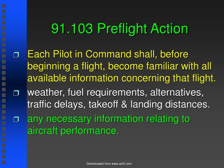 91.103 Preflight Action