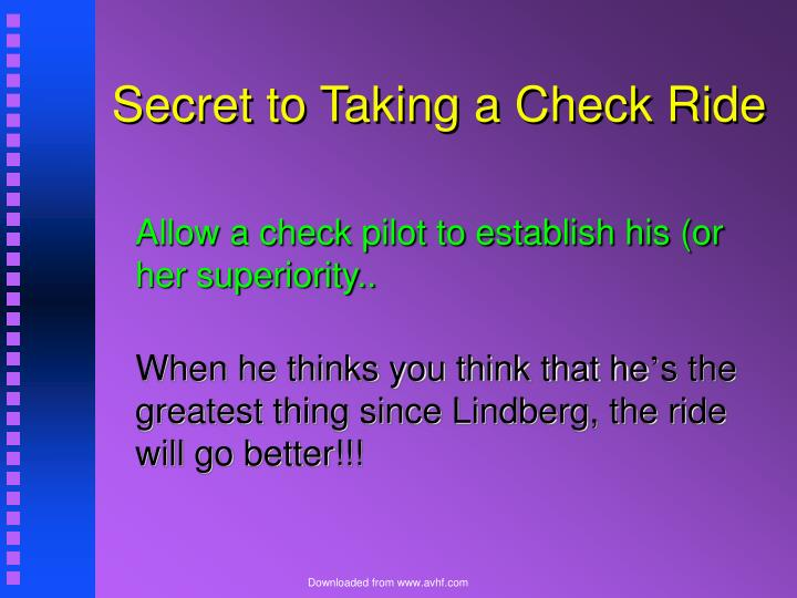 Secret to Taking a Check Ride