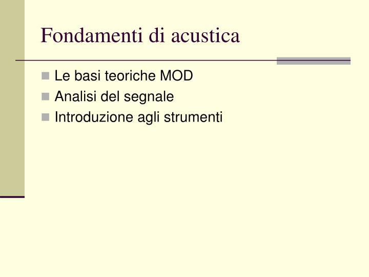 Fondamenti di acustica