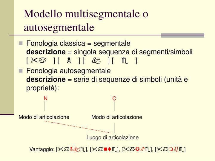Modello multisegmentale o autosegmentale