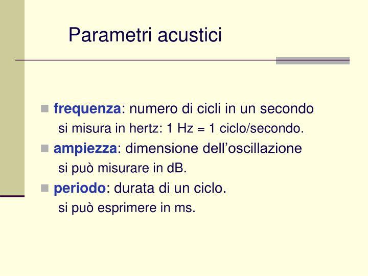 Parametri acustici