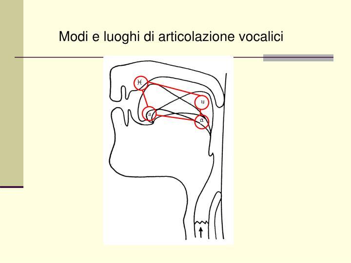 Modi e luoghi di articolazione vocalici