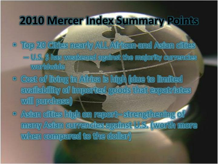 2010 Mercer Index Summary Points