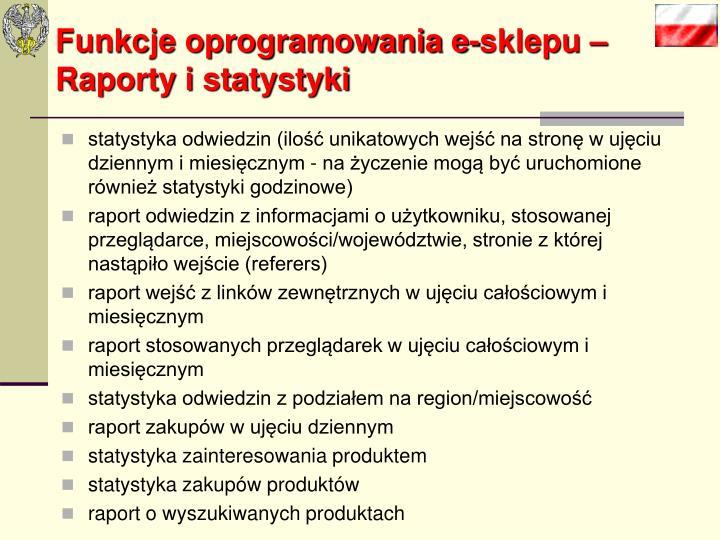 Funkcje oprogramowania e-sklepu –