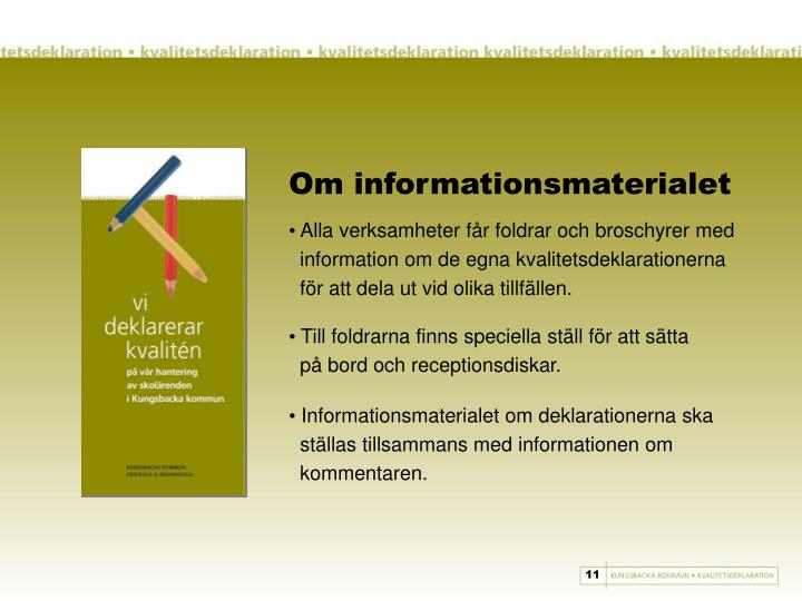 Om informationsmaterialet