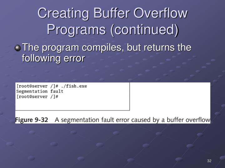 Creating Buffer Overflow Programs (continued)