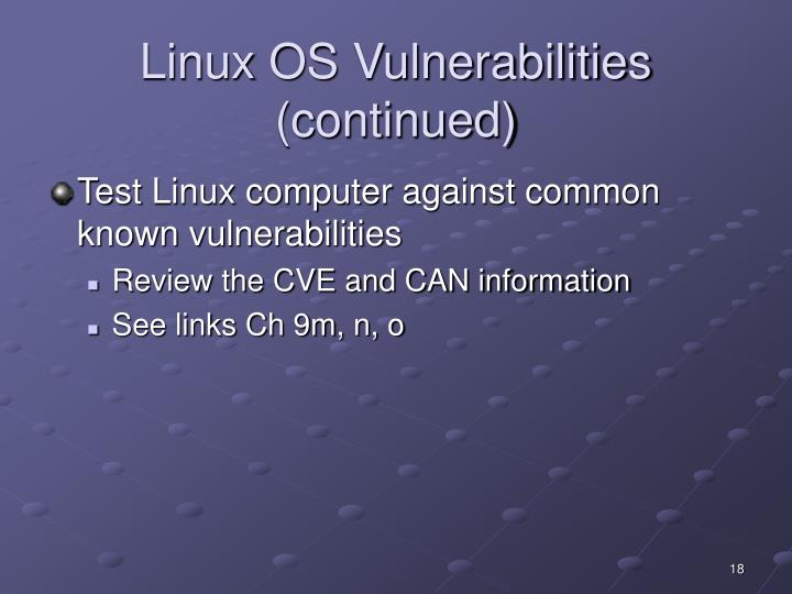 Linux OS Vulnerabilities (continued)