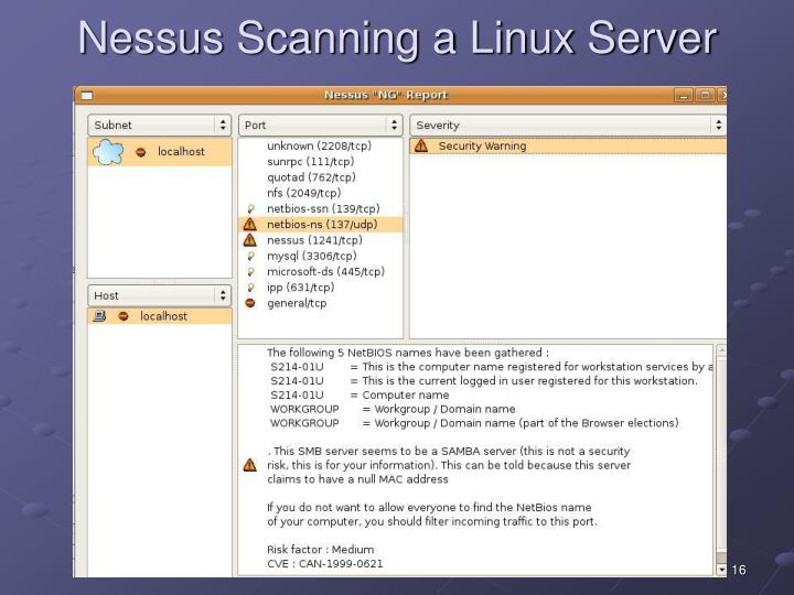 Nessus Scanning a Linux Server