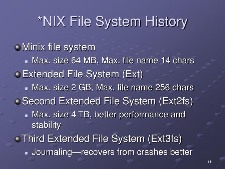*NIX File System History