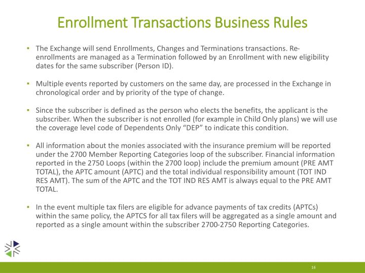 Enrollment Transactions Business Rules