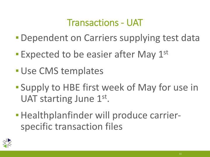 Transactions - UAT