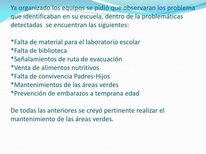 Ya organizado los equipos se pidió que observaran los problema que identificaban en su escuela, dentro de la problemáticas detectadas  se encuentran las siguientes: