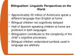 bilingualism linguistic perspectives on the world