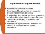 organization in long term memory