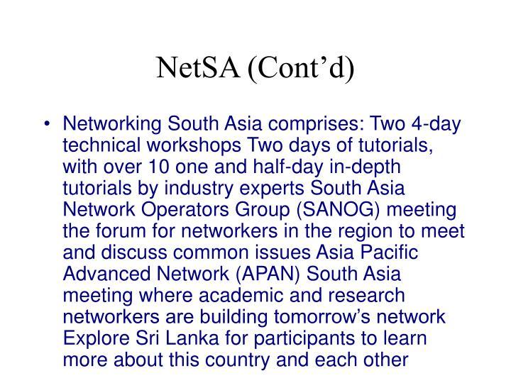 NetSA (Cont'd)
