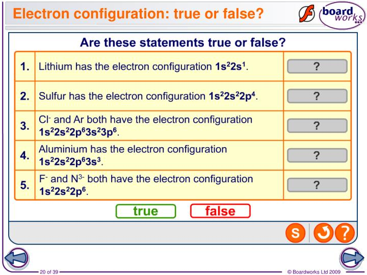 Electron configuration: true or false?