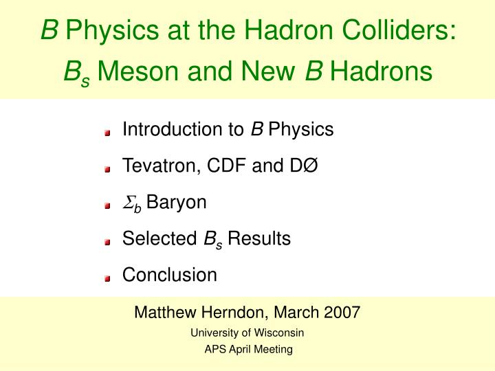 B physics at the hadron colliders b s meson and new b hadrons