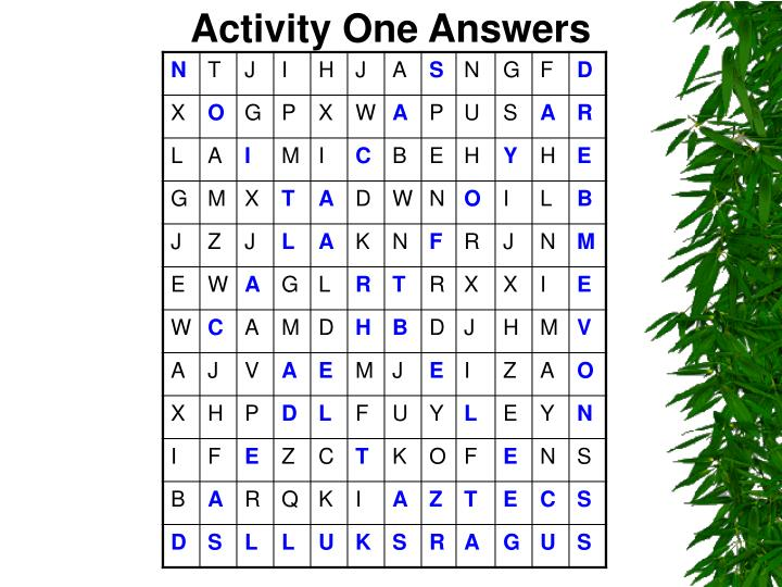Activity One Answers