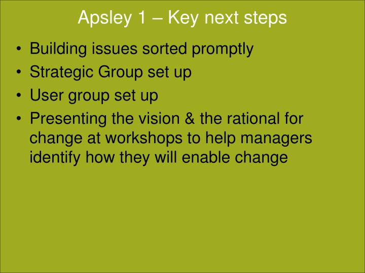 Apsley 1 – Key next steps