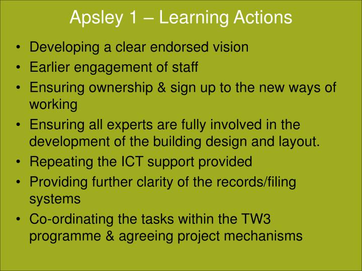 Apsley 1 – Learning Actions