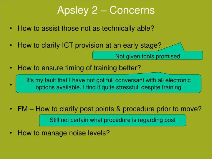 Apsley 2 – Concerns