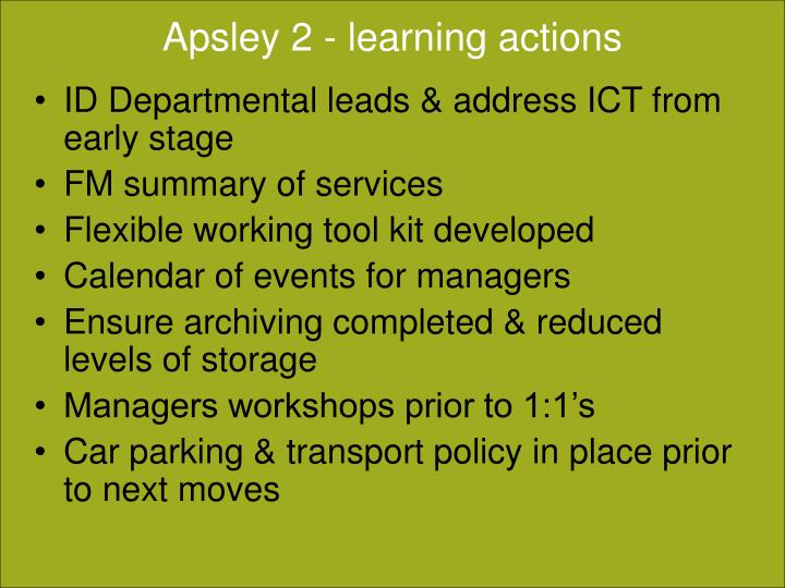 Apsley 2 - learning actions
