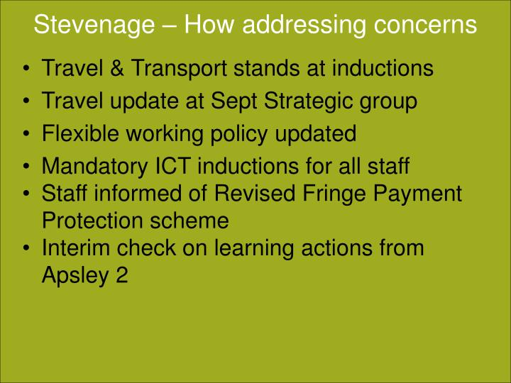Stevenage – How addressing concerns