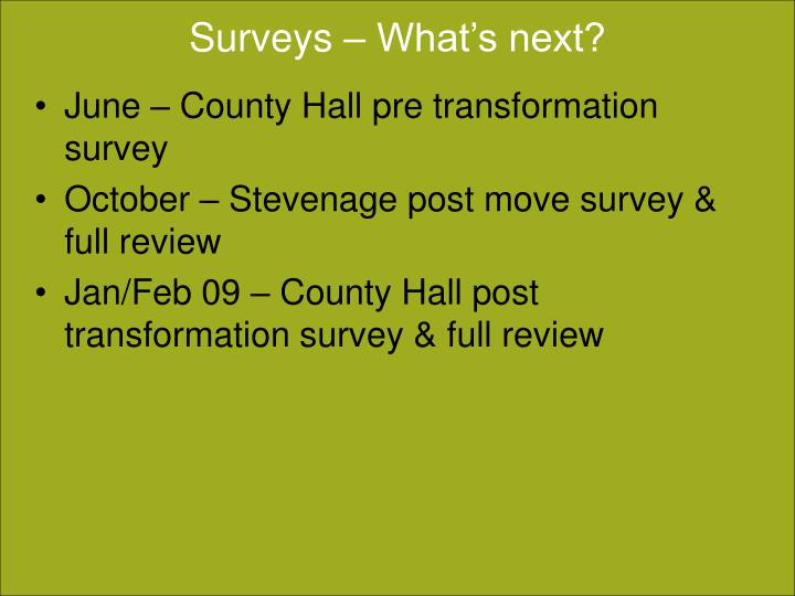 Surveys – What's next?