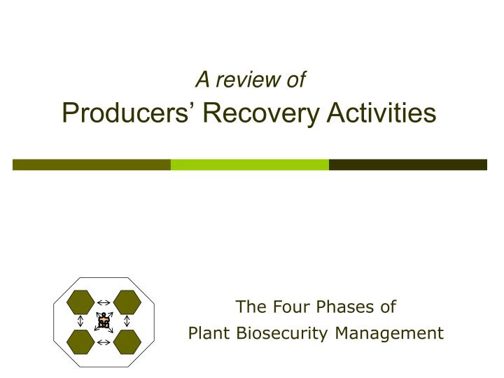 A review of producers recovery activities
