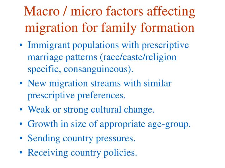 Macro / micro factors affecting migration for family formation