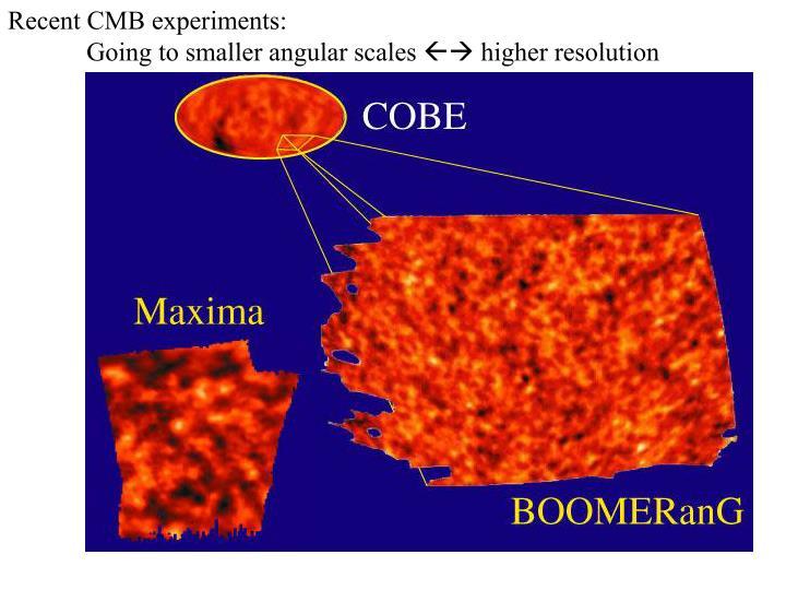 Recent CMB experiments: