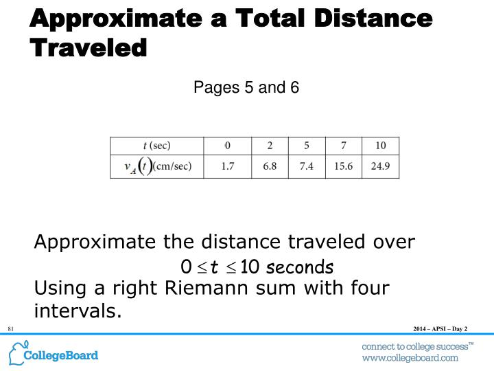 Approximate a Total Distance Traveled