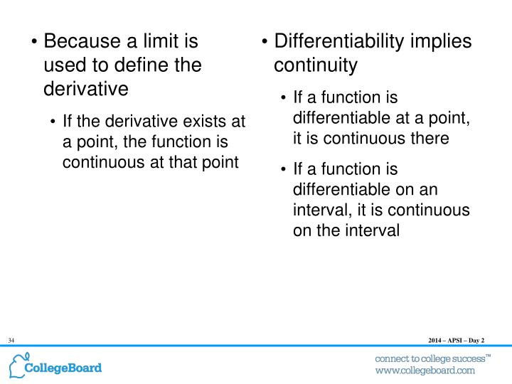 Connecting Continuity and Differentiability