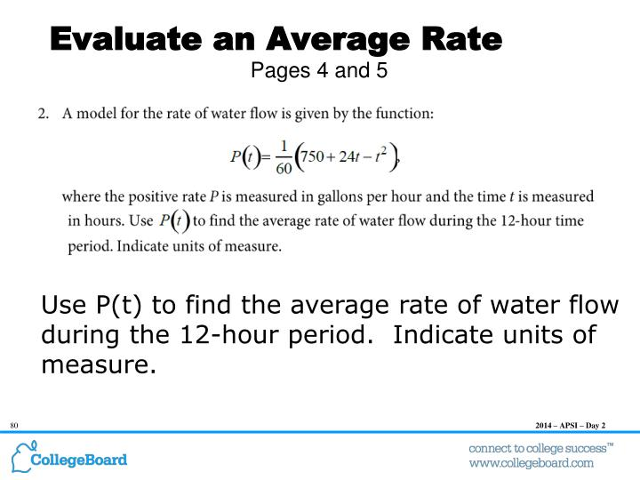 Evaluate an Average Rate