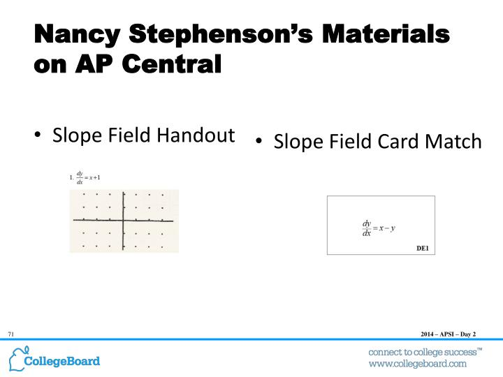 Nancy Stephenson's Materials