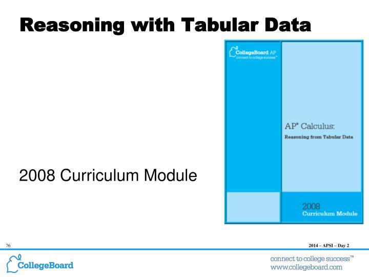 Reasoning with Tabular Data