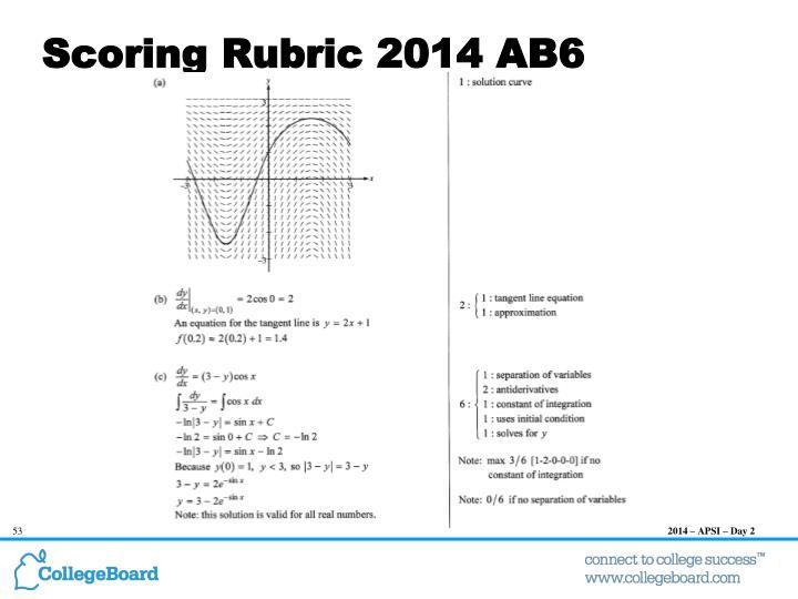 Scoring Rubric 2014 AB6