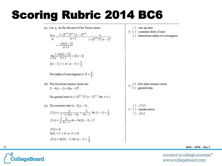 Scoring Rubric 2014 BC6