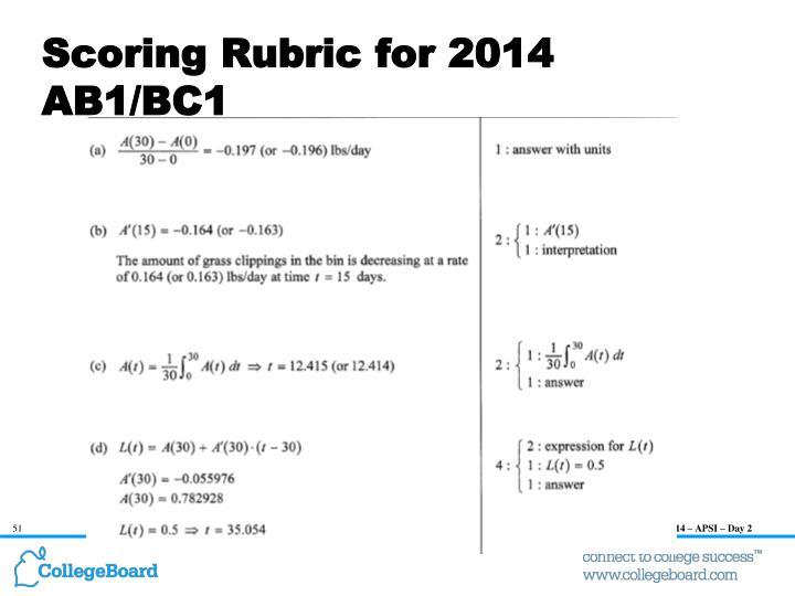 Scoring Rubric for 2014 AB1/BC1