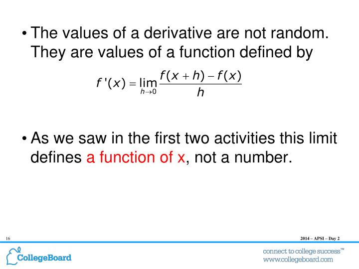 The values of a derivative are not random.  They are values of a function defined by