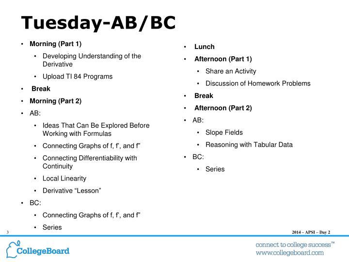 Tuesday-AB/BC