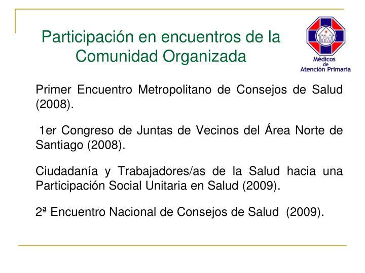 Primer Encuentro Metropolitano de Consejos de Salud (2008).