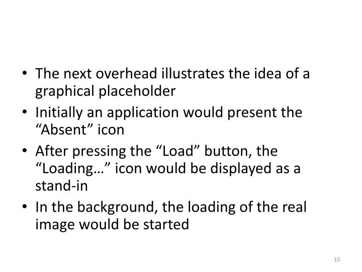 The next overhead illustrates the idea of a graphical placeholder