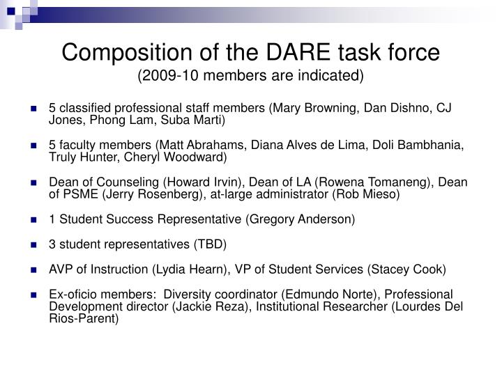Composition of the DARE task force