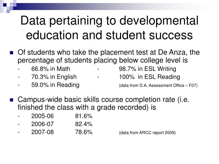 Data pertaining to developmental education and student success