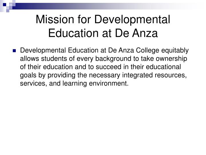 Mission for Developmental Education at De Anza