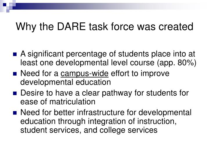 Why the dare task force was created