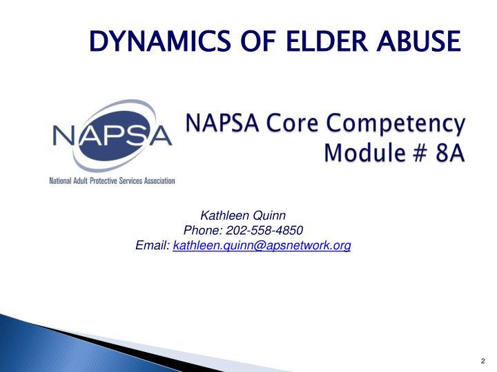 DYNAMICS OF ELDER ABUSE
