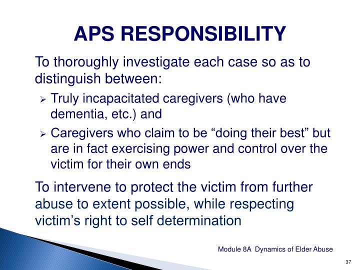 APS RESPONSIBILITY